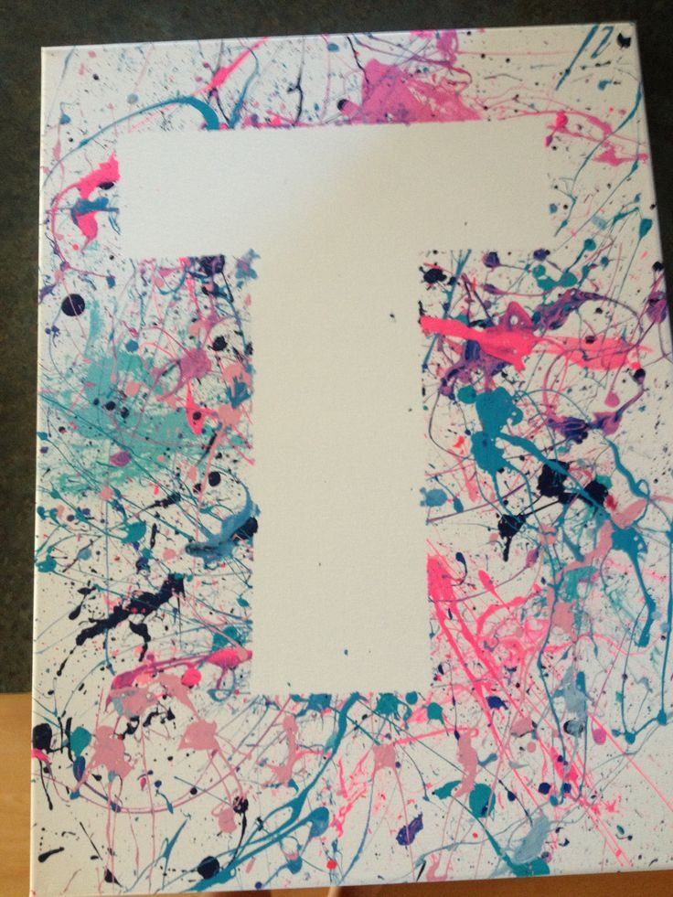 Splatter Paint Initial On Canvas For Kids