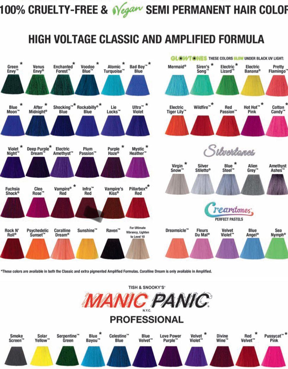 Manic Panic colors   Manic panic hair color, Manic panic colors ...