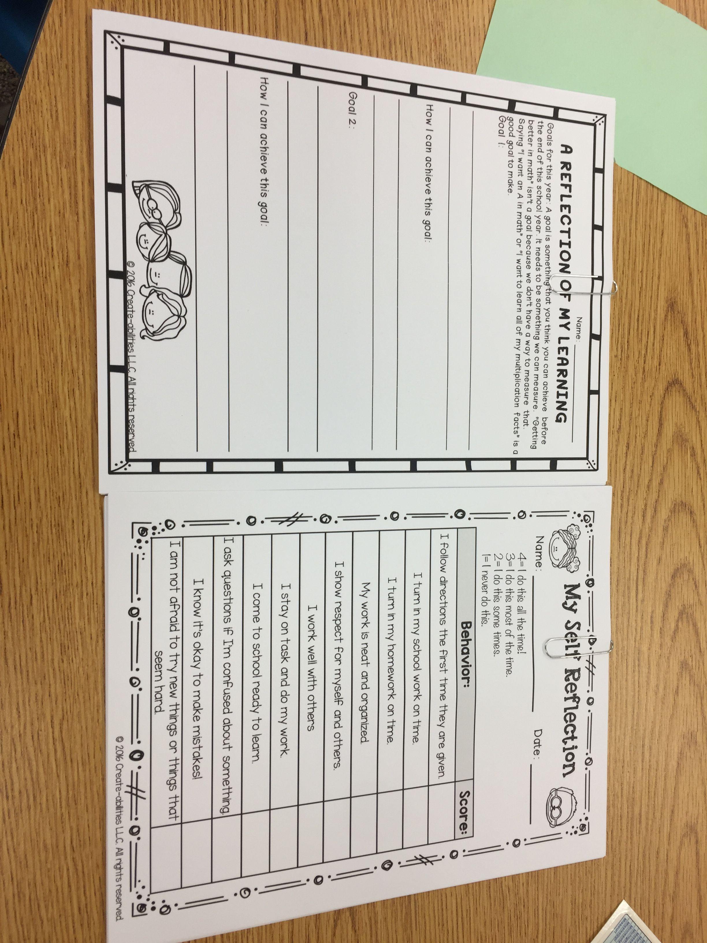Student Reflection Worksheets