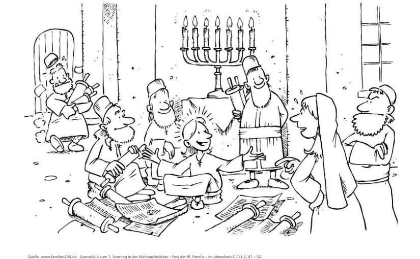 Ausmalbild: 1. Sonntag nach Weihnachten (Lesejahr C), Lk 2, 41 – 52 ...