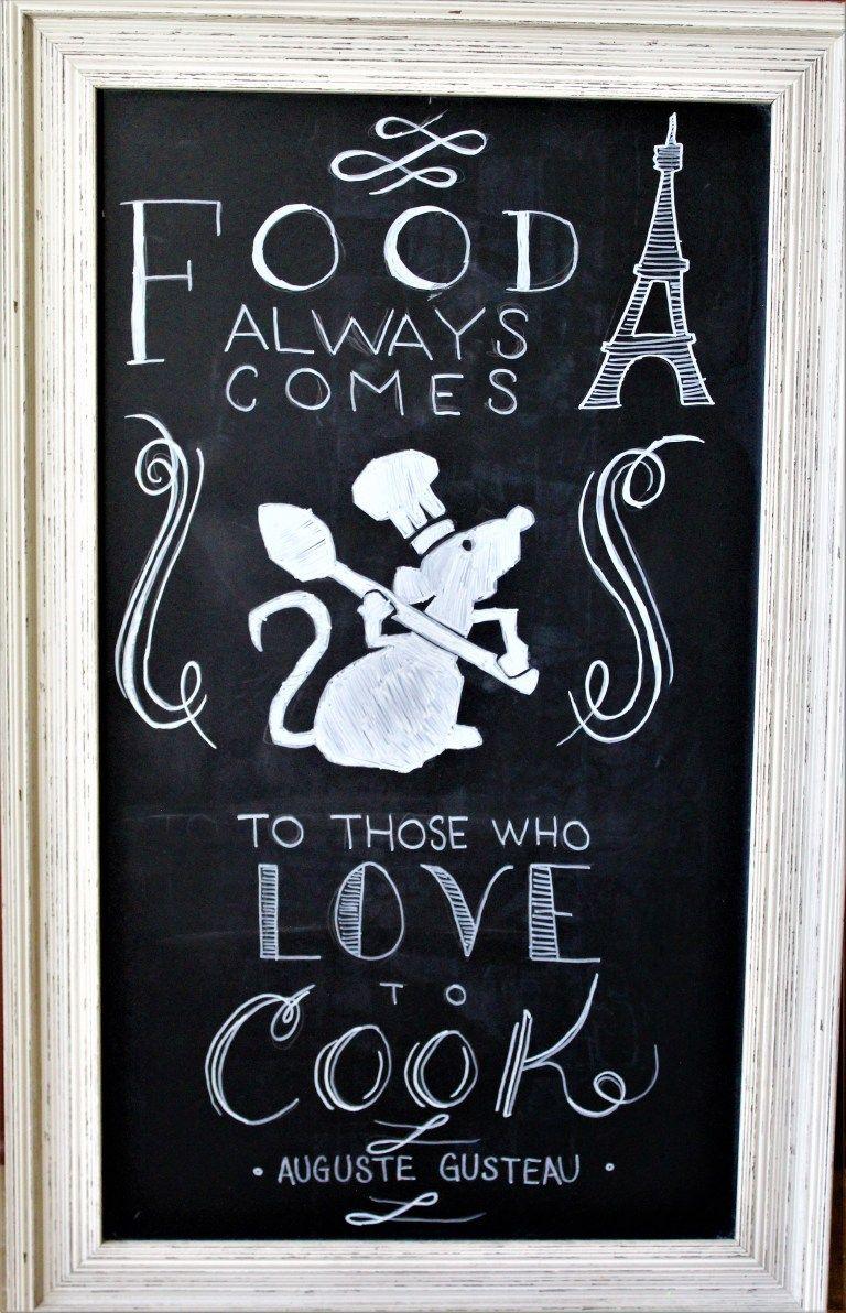 Ratatouille Chalkboard Art for the Kitchen - The Healthy Mouse #disneykitchen