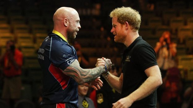 Michael Yule receives a handshake from Prince Harry of Wales after winning the gold medal in the Men's Lightweight Powerlifting finals during the Invictus Games Orlando 2016 You saved to http://amzn.to/26fobwC Donnell Cassidy HELP SHARE AND LIKE THANK YOU Like · Reply · Just now Donnell Cassidy Donnell Cassidy thank you veterans band and the veterans and the veterans bikers for being there to all thank you the veterans band needs money donations to decommision the submarine CORPUS CHRISTI…