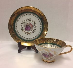 Plankenhammer-Cup-Saucer-Floss-Bavaria-Gold-West-Germany-Couple-Courting-Green