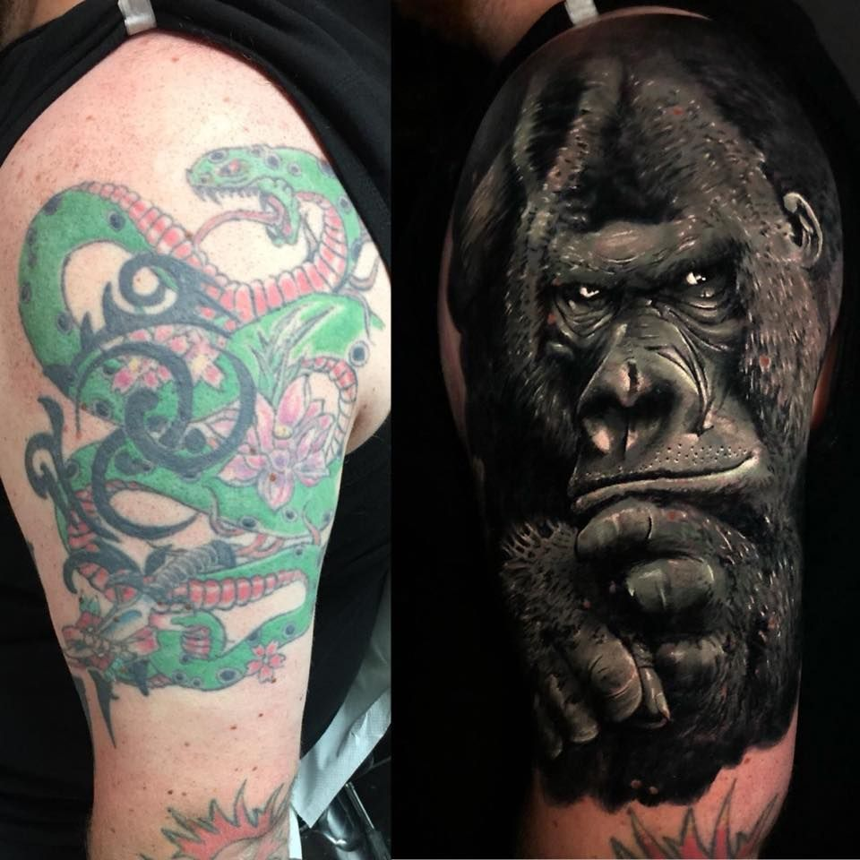 Gorilla cover up tattoo by teo limited availability at