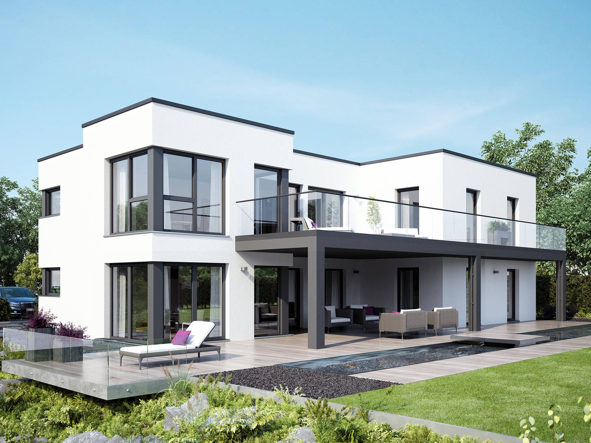 celebration 282 v7 zweifamilienhaus von bien zenker fertighaus mit flachdach und wellnessbad. Black Bedroom Furniture Sets. Home Design Ideas