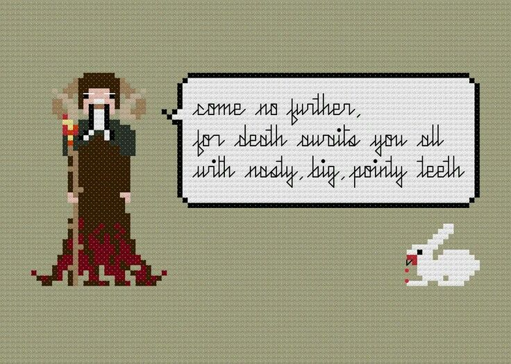 Monty Python and the Holy Grail Killer Rabbit cross stitch pattern