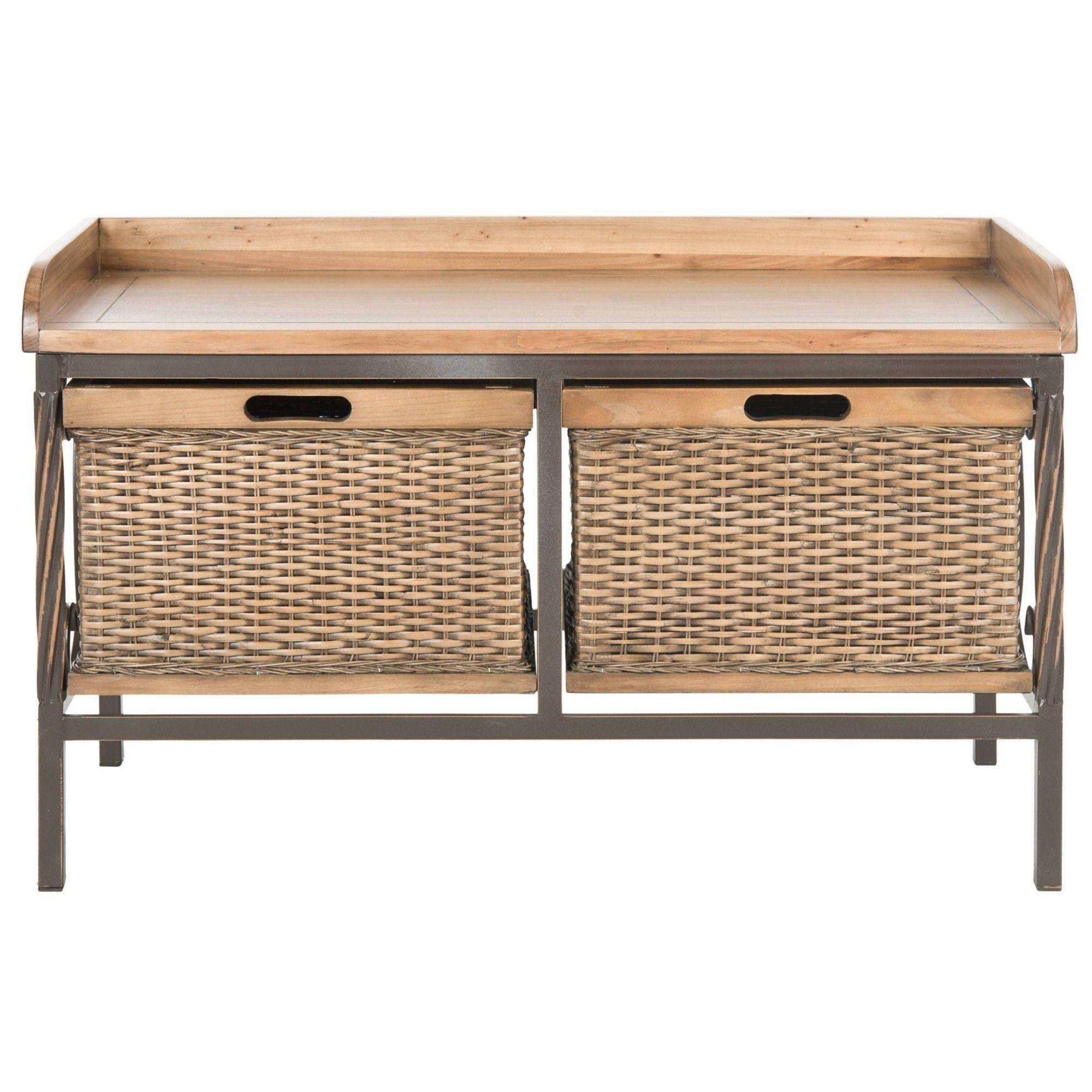 Noah Storage Bench Wood Oak Safavieh Brown Wooden Storage