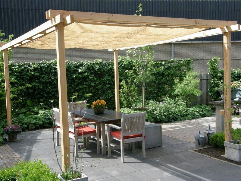 Backyard Pergola With Concrete Base