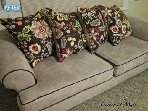 Plain Sofa + Painted The Piping And Swapped Out Old Pillows For Custom Made