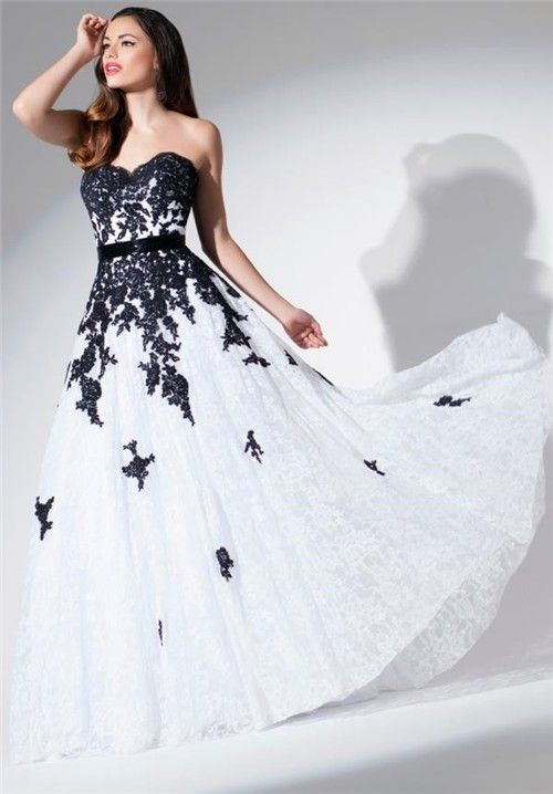 A Line Strapless Sweetheart White And Black Lace Applique