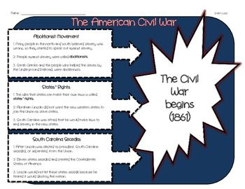 Causes of the Civil War Organizer | Civil wars, The o'jays and War