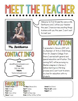 Meet The Teacher Newsletter Template #meettheteacherideas