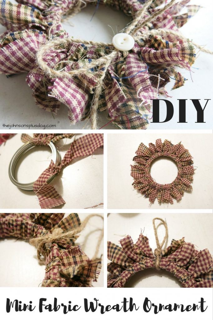 Love this idea of using a mason jar lid ring to make a mini wreath ornament  ! DIY Homespun Fabric Christmas Ornaments - Click through for detailed  tutorial ... - DIY Homespun Fabric Christmas Ornament - 4 Different Tutorials