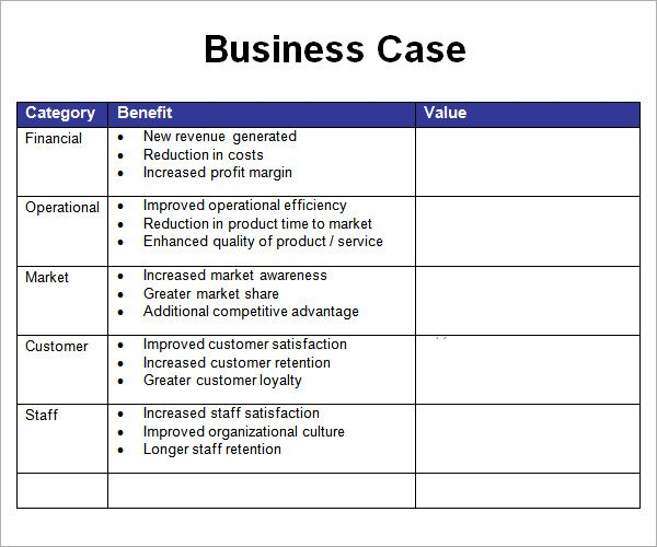 Business Case Template Free Small Medium And Large Images