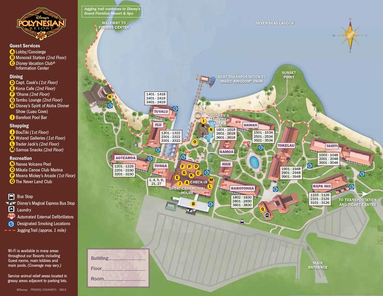 Disney World Polynesian Resort Map on
