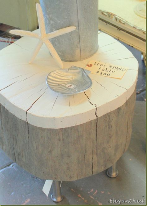 """tree stump table w/ """"dipped"""" top"""