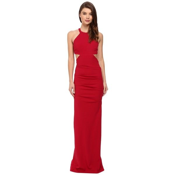 Nicole Miller Belize Cut Out Structured Jersey Gown (Red) Women's... ($530) ❤ liked on Polyvore featuring dresses, gowns, red ball gown, red gown, red dress, red cut out dress and jersey dress
