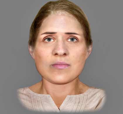 Reconstructed face of a 6th century woman found at a crypt in - forensic report