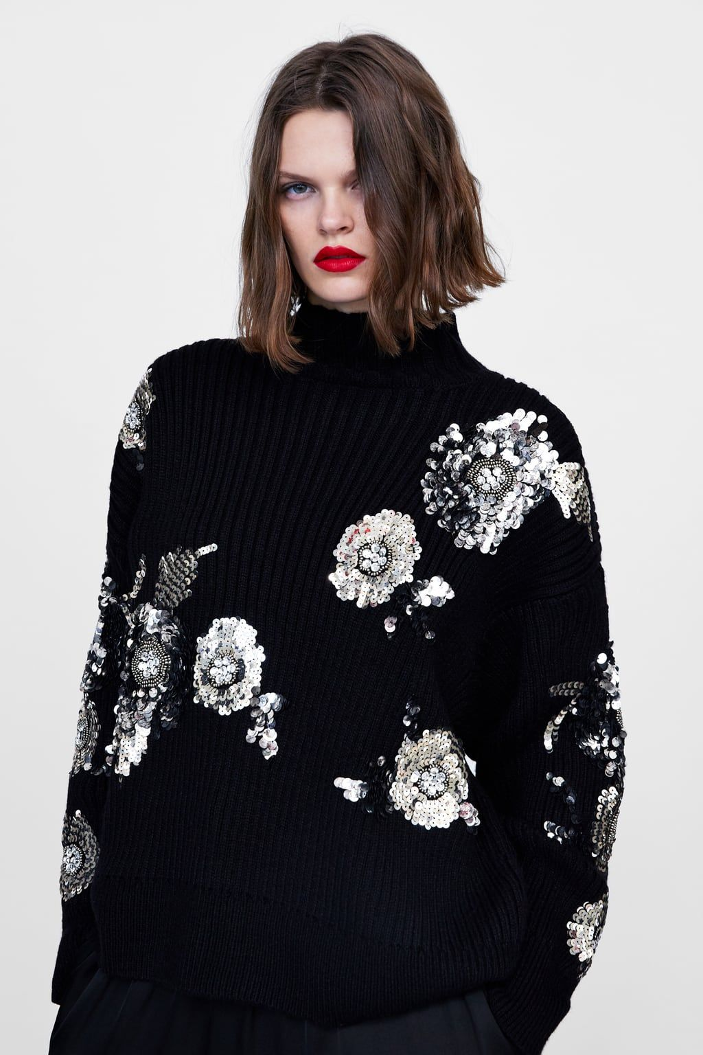 8c829cc4 Floral sweater with sequins in 2019 | 2018 knıt | Floral sweater ...