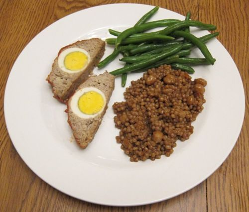 Dinner Of Stuffed Meatloaf With Egg Green Beans And Couscous Meatloaf Dinner Beef Dishes Healthy Breakfast