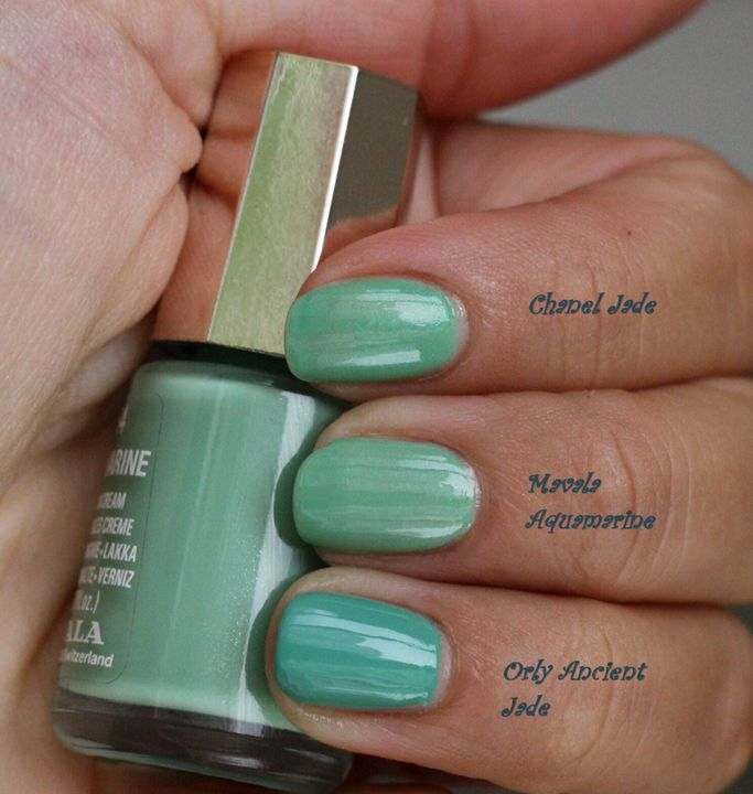 Jade vs Mavala Aquamarine vs Orly ancient jade | Chanel dupes ...