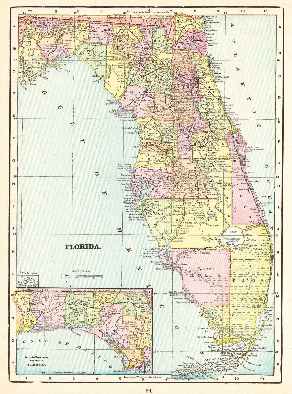 Map Antique. Florida. Geo. F. Cram. 1896. Chicago. From Cram\'s ...