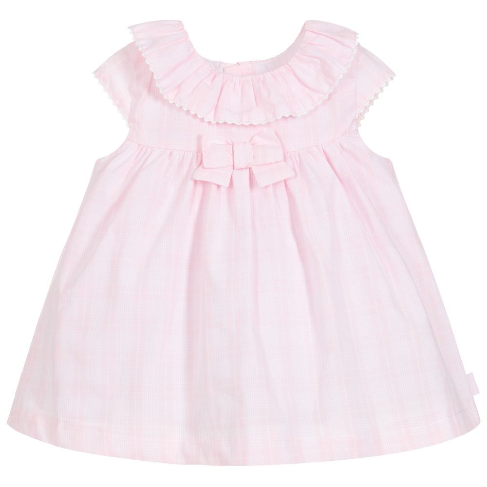 8915b1a28f Pink check cotton dress set for baby girls by Tutto Piccolo. Its has a soft