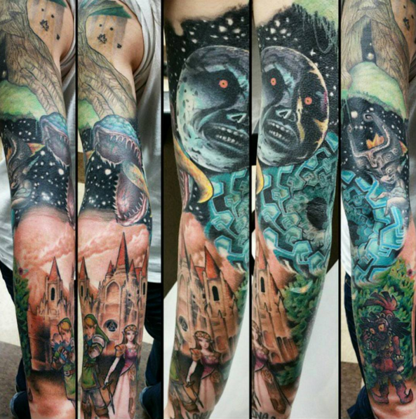 This Batshit Insane Sleeve Tattoo Lovely Tattoos Zelda Tattoo