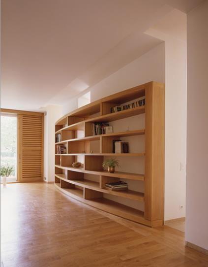 Bibliothèque murale arrondie en bois sur mesure | Bibliothèque ...