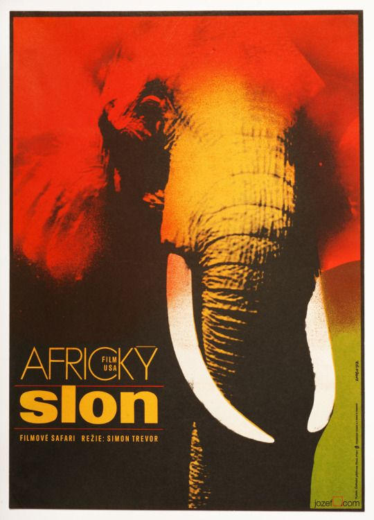 title: The African Elephant | Africký slon | USA, 1971 director: Simon Trevor with: David Wayne  poster design: Karel Vaca, Czechoslovakia, 1973