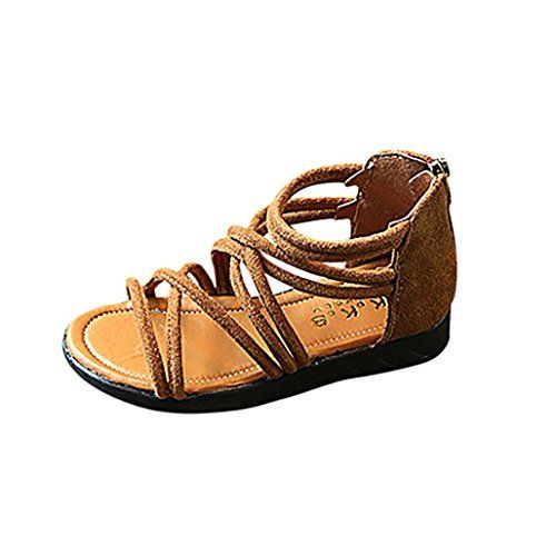 a61b643cc9d4 Voberry Toddler Kids Baby Girl PU Leather Gladiator Sandals Bandage Summer  Beach Boots (1