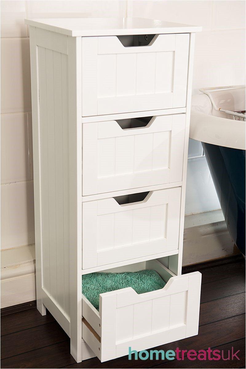 White Freestanding Bathroom Cabinet Tall 4 Drawer Storage Home Treats Uk White Storage Cabinets Storage Cabinet With Drawers Bathroom Drawer Storage
