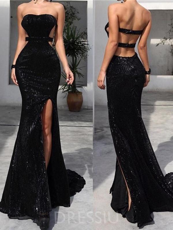 Sleeveless Floor-Length Strapless Sequins Evening Dress – dressiu