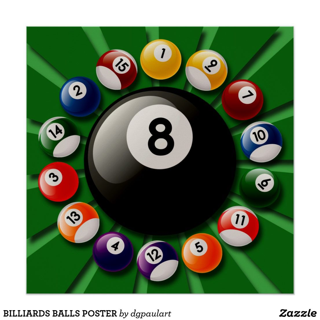 Billiards Balls Poster Zazzle Com In 2021 Billiards Billiard Balls Pool Balls