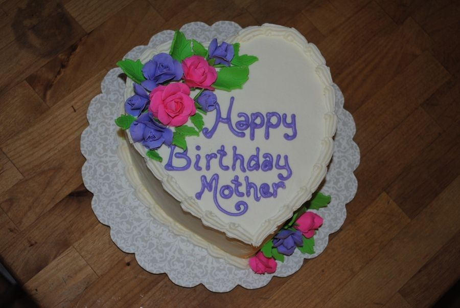 Happy Birthday Mother Cake Heart Shape Cake With Bc