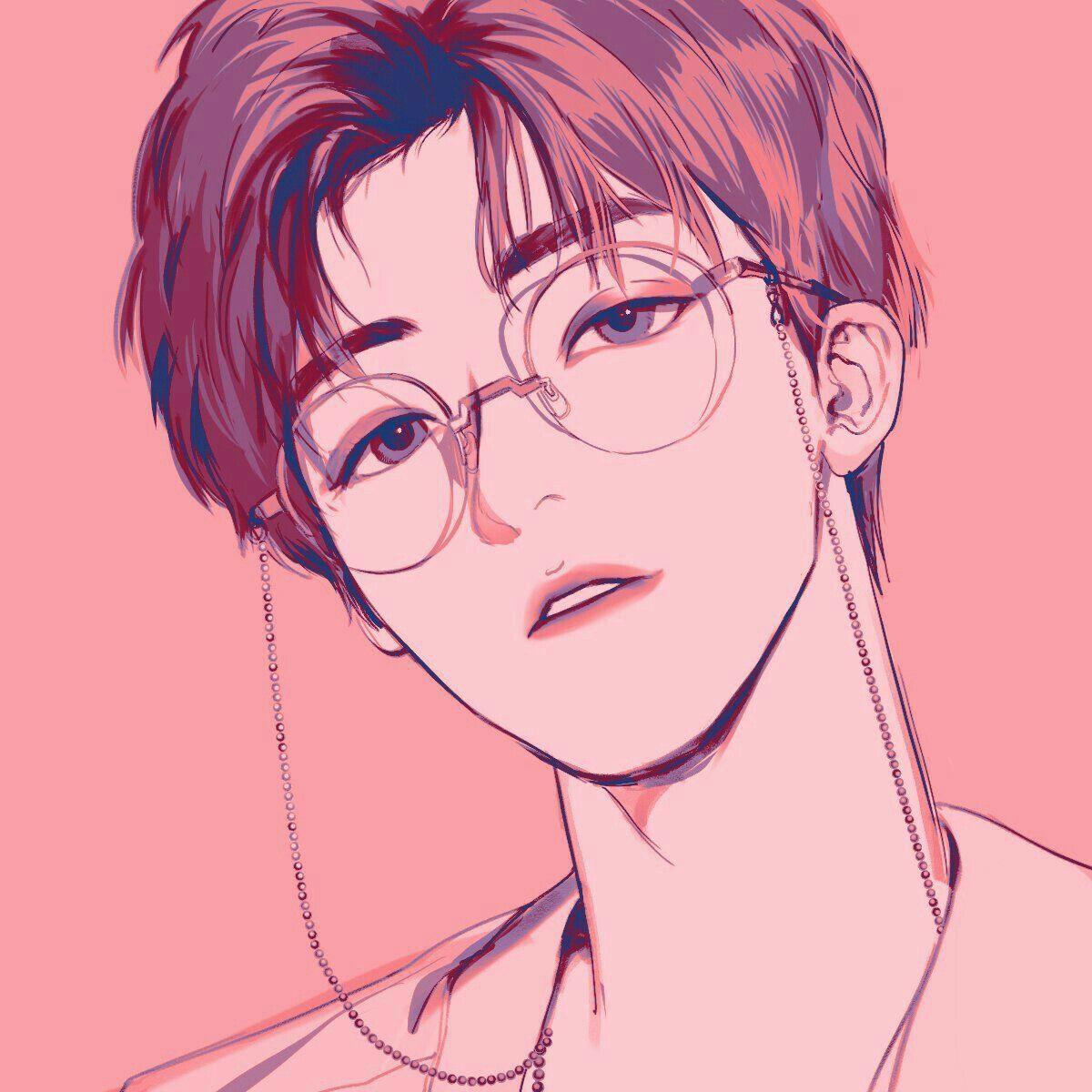 boy glasses pink digital art graphic design aesthetic