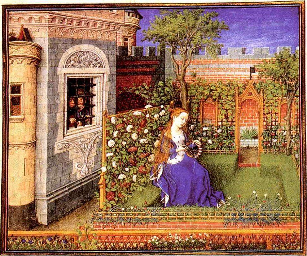 Palemone and Arcita see Emilia in her garden. From Boccaccio\'s ...