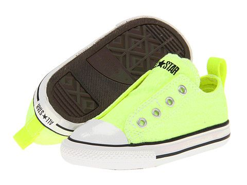 1e66a1b6f024 Converse Kids Chuck Taylor® All Star® Simple Slip-On Ox (Infant Toddler)  Neon Yellow - Zappos.com Free Shipping BOTH Ways