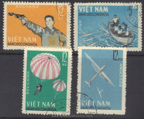 Vietnam Stamps - 1964, Sc 320-3 National Defense Games - CTO, F-VF by Great Wall Bookstore, Las Vegas. $1.95