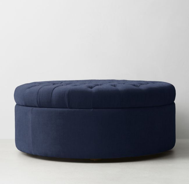 Astounding Tufted Large Round Storage Ottoman Promontory Plan 8 In Ncnpc Chair Design For Home Ncnpcorg