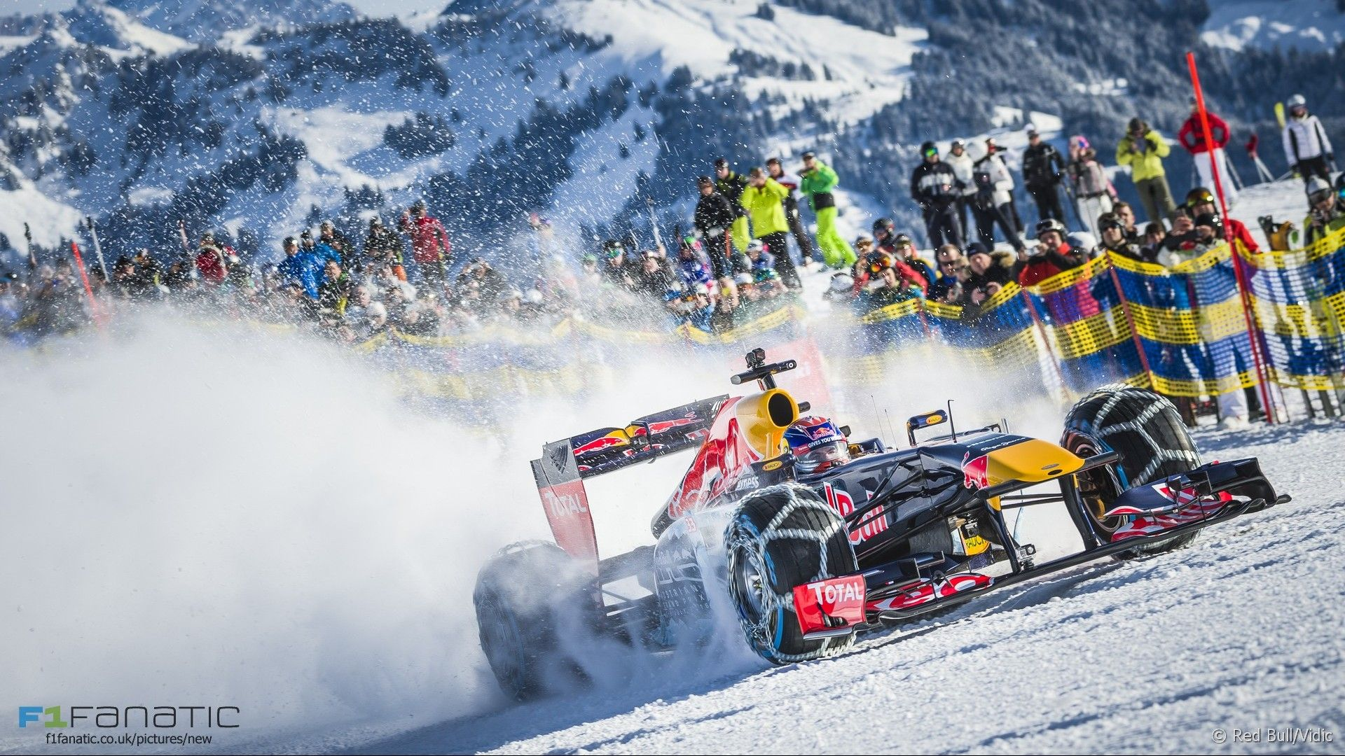 Max Verstappen Took A Red Bull RB7 On The Slopes Of Streif Ski Course In Kitzbuehel Demonstration Run Thursday