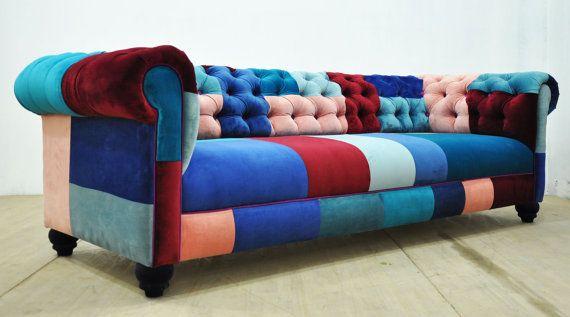 Chesterfield Patchwork Sofa Blue Sky Lit Bleu Ciel De Lit Et Chesterfield