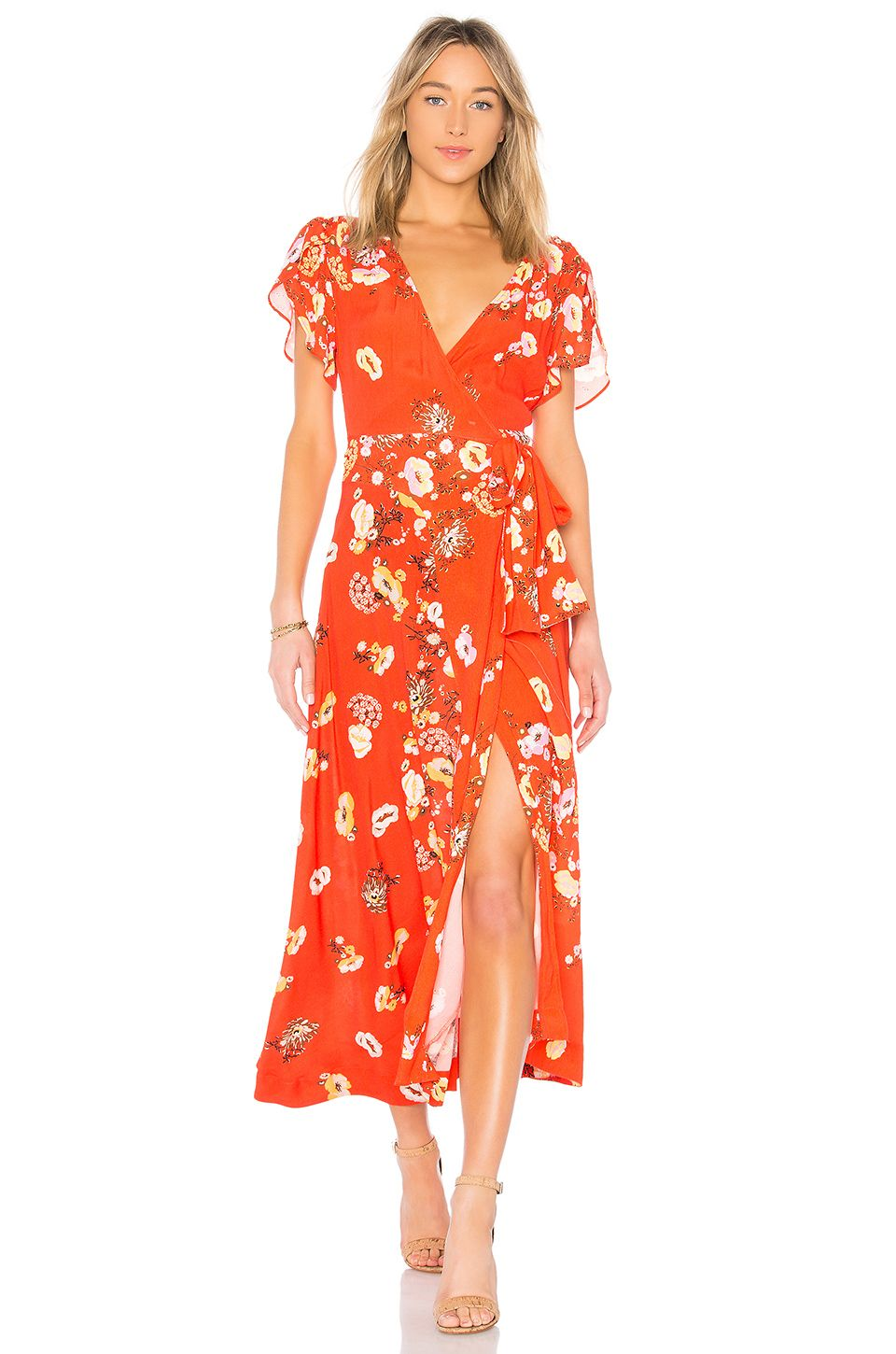 e5868a892490bf Free People Gorgeous Jess Wrap Dress in Red Combo perfect guest outfit for  a summer wedding! #weddingguest #dress #floraldress #summerwedding  #reddress ...