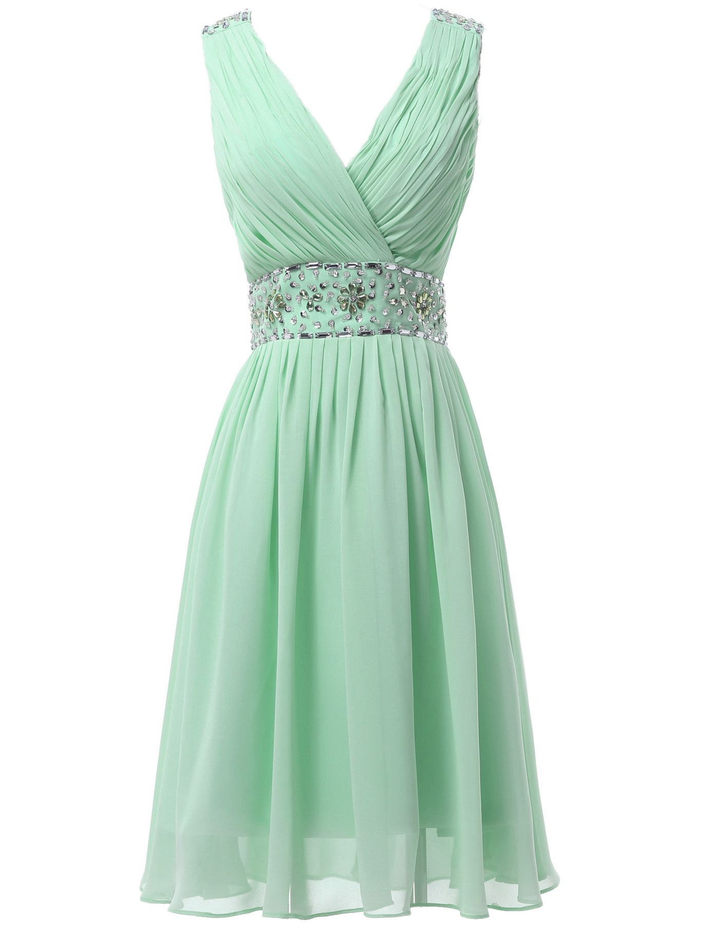 Mint Green Short Chiffon Sequin Bridesmaid Dress