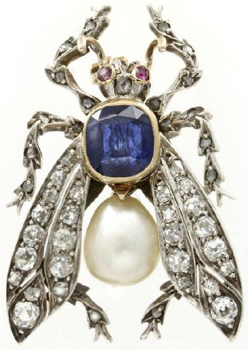Insect Jewellery Kaleidoscope. Gold Victorian brooch. Baroque pearls, diamonds…
