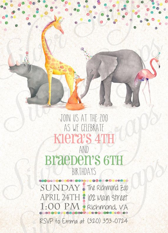Watercolor zoo animals and confetti custom birthday party invitation watercolor zoo animals and confetti custom birthday party invitation hand painted boy girl joint twins stopboris Choice Image