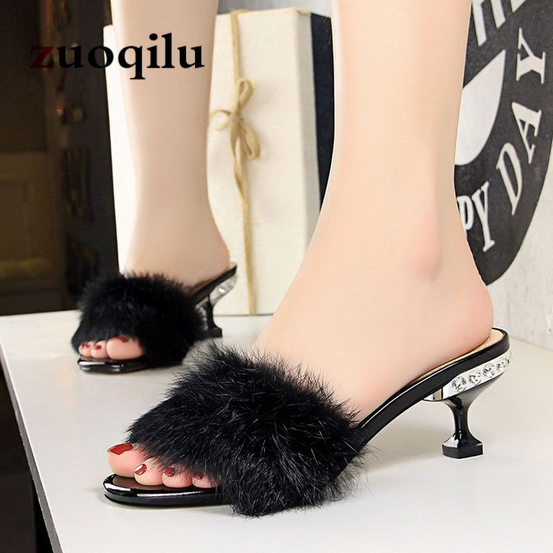 8623b24f405 2018 fur slippers women Sexy high heel slippers women home slippers high  heels women summer shoes