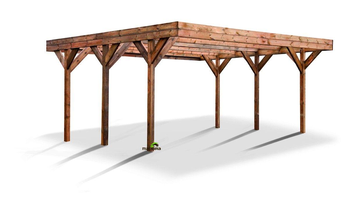 Carport en Bois Coloré Brun Avec Couverture DOUBLE ENZO
