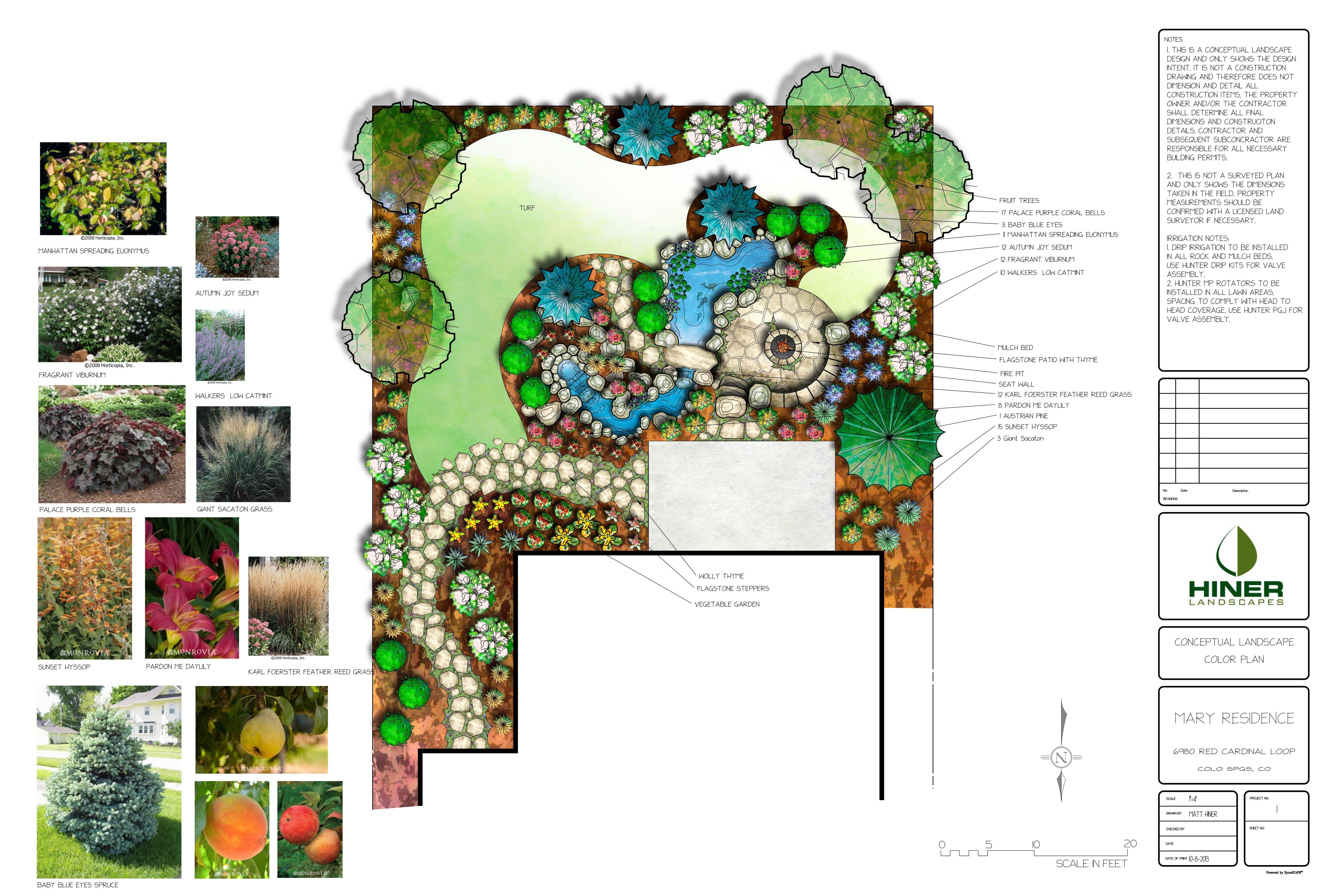 Renderings by hiner landscapes landscape design plan for Pflanzengestaltung garten
