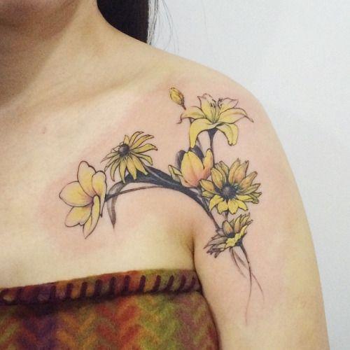 Yellow flowers tattoo tattooistdoy tattooworkers best tattoos yellow flowers tattoo tattooistdoy tattooworkers yellow flower tattoos mightylinksfo